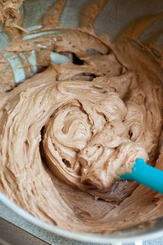 5 Minute Perfect Chocolate Frosting | It's creamy, lightly salty, chocolate-y, fluffy and my go-to favorite chocolate frosting. Secret ingredient: whipping cream! :)