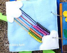 Rainbow Bead Quiet Book Page by SweetJuicyApril on Etsy Diy Quiet Books, Baby Quiet Book, Felt Books, Rainbow Pages, Fidget Blankets, Sensory Book, Quiet Book Patterns, Fidget Quilt, Busy Bags