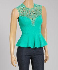 This Jade Crochet Peplum Top is perfect! #zulilyfinds