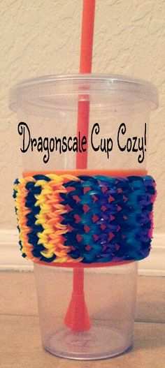 Rainbow loom dragonscale cup cozy, directions from Craft Life! :)