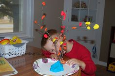 leaves from play dough for an autumn tree