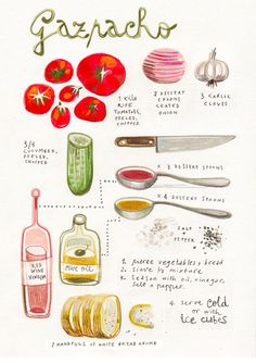 A stunning illustrated recipe for homemade Gazpacho by artist Felicita Sala. This could be a delicious experiment, as I've never made gazpacho before! Soup Recipes, Cooking Recipes, Healthy Recipes, Cooking Tips, Easy Recipes, Healthy Food, Spanish Food, Food Illustrations, Tomatoes