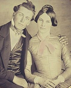 Pretty people: they are young, extremely attractive and obviously in love. 1850s ( Along the line this image was enhanced, so a close-up is excusable. )