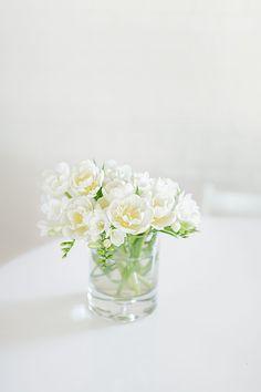 White Freesia in a vase