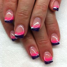 Gel nails with hand drawn design using gel