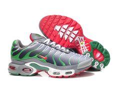 Chaussures de Nike Air Max Tn Requin Homme Argent vert et Rouge Requin Nike Tn