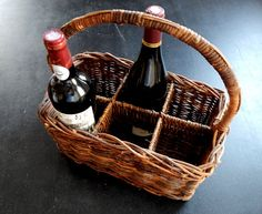 French Vintage 6 Bottle Wine Carrier in by Vintagefrenchlinens, $125.00