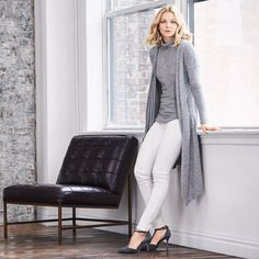 Give your look that warm and fuzzy feel in this sleeveless soft turtleneck with complimentary side ruching. #WHBM