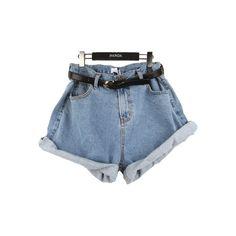 STYLENANDA EN (1.095 UYU) ❤ liked on Polyvore featuring shorts, bottoms, pants, denim, basketball shorts and denim shorts
