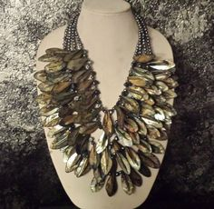 Luxury MONIES Like Black Mother of Pearl Massive Statement Necklace Bold Coutu   eBay