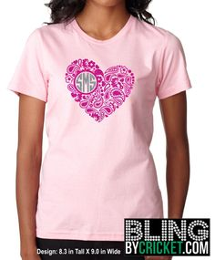 Monogram Tee, Valentine Monogram Tee, Heart Monogram Tee, Paisley Heart, Valentine Shirt, Monogram T-Shirt, Valentine's Day Shirt for her by BlingByCricket on Etsy