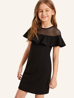 To find out about the Girls Fishnet Mesh Yoke Flounce Trim Dress at SHEIN, part of our latest Girls Dresses ready to shop online today! Girls Dresses Online, Kids Outfits Girls, Cute Girl Outfits, Little Girl Dresses, Stylish Outfits, Dress Girl, Girls Fashion Clothes, Tween Fashion, Fashion Outfits
