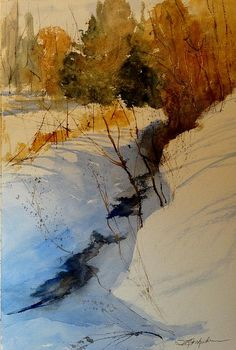 """Winter Afternoon""  22x15  Transparent Watercolor,   Sandra L. Strohschein,   Original Available.  sandystrohs@gmail.com"