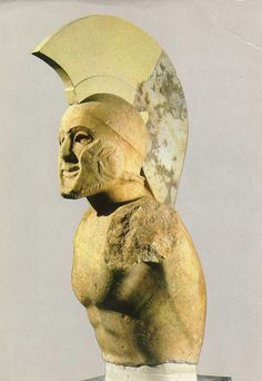 Marble statue of a helmed hoplite (5th century BC), maybe Leonidas,  Sparta, Archæological Museum of Sparta, Greece.