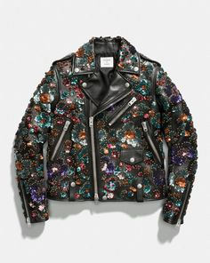 Image result for Coach x Rodarte Moto Jacket with Leather Sequins,
