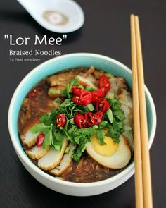 """I cooked """"Lor Mee"""" (Singapore-style) this weekend and updated my earlier post with new photos.Lor mee simply refers to braised noodles, which typically uses thick yellow […] Pork Recipes, Seafood Recipes, Cooking Recipes, Healthy Recipes, Healthy Food, Yummy Recipes, Malaysian Cuisine, Malaysian Food, Malaysian Recipes"""