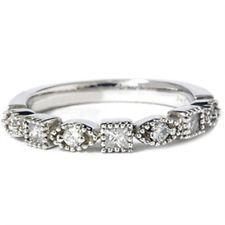 Ladies Geniune Diamond Ring .50CT Princess Cut Stacked Guard 14K White Gold Band