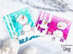 Hello crafty friends and readers! This is Crystal here today and I have two cards to share with you featuring vivid alcohol ink ba. Snowman Cards, Cute Snowman, Snowmen, Honey Bee Stamps, Whimsy Stamps, Distress Oxide Ink, We R Memory Keepers, Rhyme And Reason, Some Cards