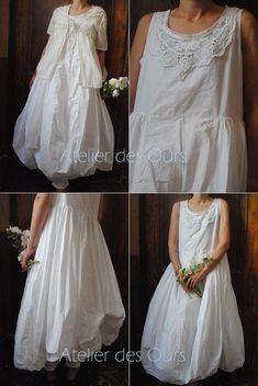 MLLE BLANCHE : Robe blanche en popeline de coton + leggings EWA IWALLA, top dentelle Les Ours