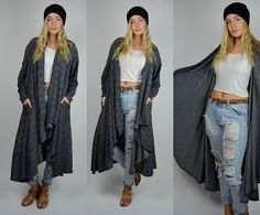 Grey | one size | 1980s Vintage Long Slouchy Cardigan 80s Outback Adventurous Clothing Listening Mind Speaking Heart