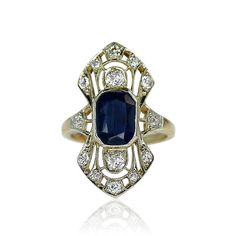 Art Deco Stil Ring with Sapphire and Diamonds  Art Deco Stil Ring mit ovalem Saphir 3,15ct und 12 Diamanten