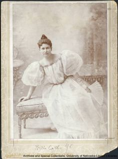 Willa Cather's senior portrait during her final year at the University of Nebraska, in 1895.