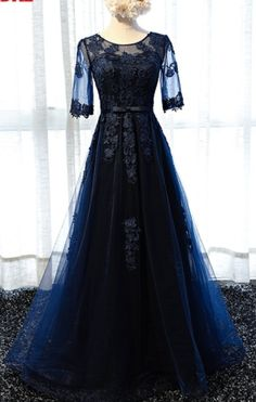 The dark blue lace dress and sleeves cut a fine beauty dance formal evening dress for sale