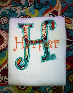 Monogram shirt/onesie Curlz font  by LightinBugKreations on Etsy, $15.00