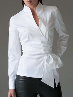 Buy Long Sleeve Work Tops For Women from 1453 at Stylewe. Online Shopping Stylewe Long Sleeve 1 White Women Work Tops For Work Elegant Stand Collar Polyester Elegant Knot Front Daily Work Tops, The Best Daily Work Tops. Discover unique designers fashion a Blouse Outfit, Work Blouse, Fashion Mode, Look Fashion, Curvy Fashion, Fall Fashion, Fashion Beauty, Fashion Trends, Classy Outfits
