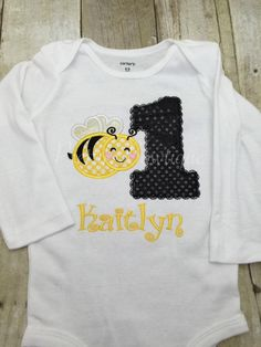 A personal favorite from my Etsy shop https://www.etsy.com/listing/225625506/bee-1st-birthday-shirt-bumble-bee