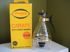 Vintage Pyrex Carafe with Candle Warmer 12 cup. w/ by KampyVintage