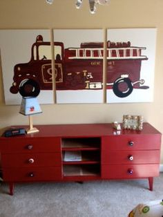 triptych fire truck painting on three 24x36 by 13096 | e1b45d5b9f85bbef13096a0875e14918