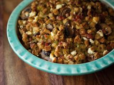 Pancetta, Leek and Mushroom Stuffing with Goat Cheese