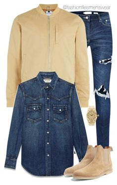 """""""Sand Storm"""" by highfashionfiles ❤ liked on Polyvore featuring Topman, Yves Saint Laurent, Rolex, Common Projects, men's fashion and menswear"""