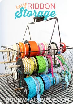 Easy and convenient ribbon organization! Would be great to use for pricing ribbon storage/dispenser. Could put other sop plies in basket, too. Ribbon Organization, Ribbon Storage, Sewing Room Organization, Studio Organization, Craft Room Storage, Organization Hacks, Craft Rooms, Tape Storage, Household Organization