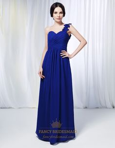 One Shoulder Chiffon Bridesmaid Dress, Royal Blue Chiffon Formal Dress, One Shoulder Chiffon Dress With Floral Detail