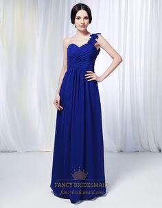 One Shoulder Chiffon Bridesmaid Dress, Royal Blue Chiffon Formal Dress, One Shoulder Chiffon Dress With Floral Detail