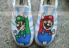 Super Mario Light Blue 2 Hand Painted Canvas Shoes,Low-top Painted Canvas Shoes