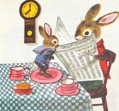 "Vintage Illustration ""Richard Scarry's Best Story Book Ever: 82 Wonderful Round-the-Year Stories and Poems"" - illustrations by Richard Scarry Richard Scarry, Illustration Mignonne, Children's Book Illustration, Book Illustrations, Lapin Art, Bunny Art, Bunny Book, Little Golden Books, Vintage Children's Books"