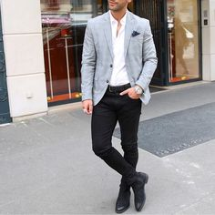 Blazer and black jeans with #chelsea boot by @kosta_williams  [ http://ift.tt/1f8LY65 ]
