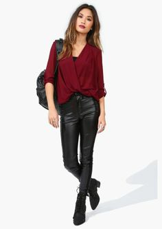 Black Leather Pants, Maroon Blouse with Black Boots/Awesome Outfit