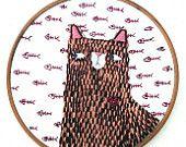 Cat, Illustration, Wall Hanging, Wall Art, Embroidery Art, Cat Embroidery, Cat Illustration