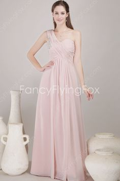 Delicate One Shoulder Neckline A-line Full Length Pink Chiffon Bridesmaid Dresses With Ruched Bust    $165.00