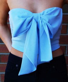 Strappless Bow Top. Blue. Teen Fashion. By-Iheartfashion14   →follow←