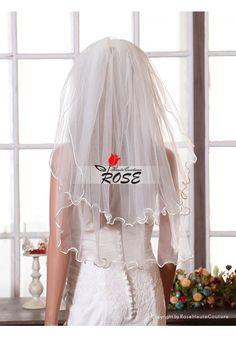 Wedding Veil Bridal Veil Simple Short Two Layer Veil Curved Edge Waist Length Veil with Comb Style BV048 - Wedding Veil