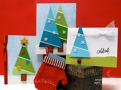 Paint Chip to Christmas Tree Cards