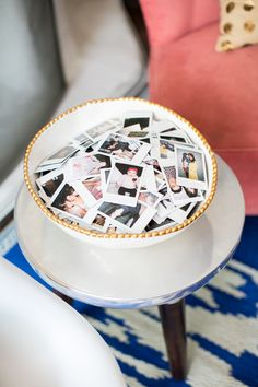 A bowl full of family photos