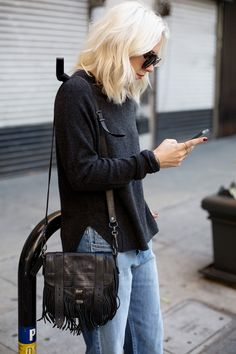 Denim & Black (picture by Always Judging) Fashion Line, Denim Fashion, Fashion Looks, Fashion Outfits, Fade Styles, Winter Trends, Classy And Fabulous, Ootd, Autumn Winter Fashion