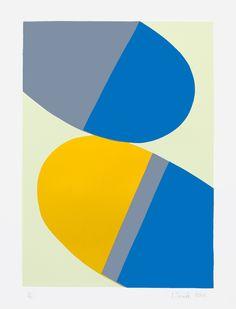 "Saatchi Online Artist: Ian Scaife; Screen-printing, 2013, Printmaking ""signal - blue/yellow"""
