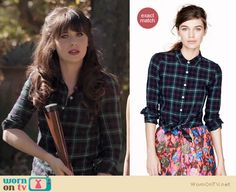 Jess wore this plaid shirt on New Girl, it is from J. Crew http://wornontv.net/9226